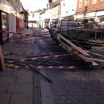 Lucky Escape for Workmen Forced to Jump From Falling Scaffolding