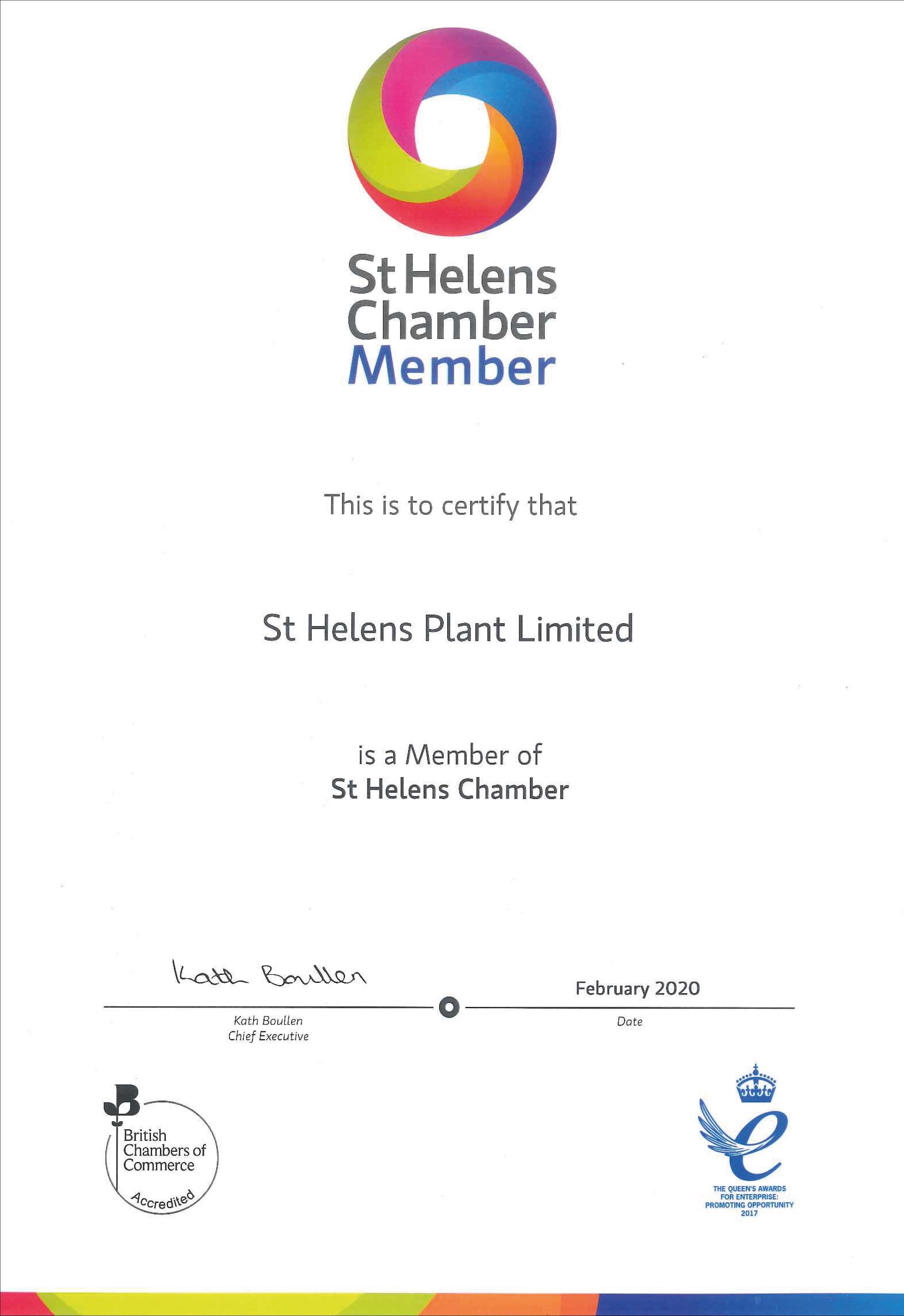 St Helens Chmber Member Certificate -